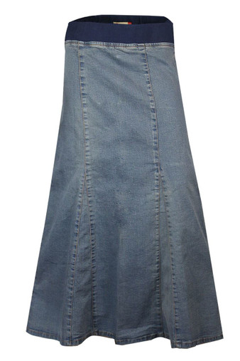 Plus Size Blue Denim Ankle Long Length Skirts From Clove.