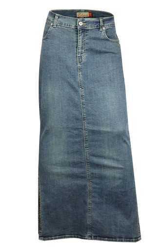 Ankle Length Maxi Stretch Denim Pencil Skirt Plus Size From Clove.