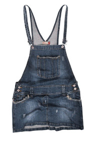Clove Women Dungarees Mini Skirt Frayed Antique Look Denim - Size 8 - 22