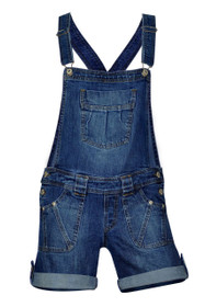Clove Womens Stretch Short Dungarees Soft Wash Blue Denim Bib Brace