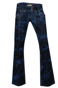 New Unique Low Rise Slimming Boot Cut Blue Tie Dye Clove Jeans