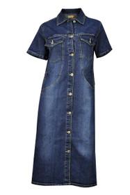 Clove Women Half Sleeves Button Up Stretch Blue Denim Midi Dress plus Size