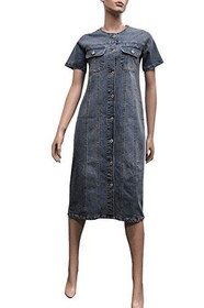 New Blue Stretch Denim Short Sleeves Long Casual Dress