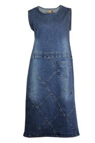 Clove Women A-Line Sleeveless Round Neck Blue Denim Midi Dress