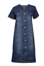 Clove Women Dress Short Sleeves Blue Stretch Denim Classic Midi