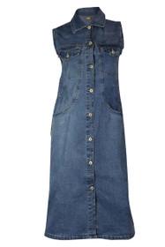 Clove Womens Midi Dress Blue Stretch Denim Full Frontal Button Closure