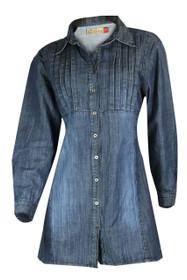 Clove Women Blue Denim A-Line Relaxed Fit Long Sleeves Skater Dress