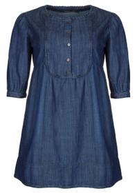 Clove Womens Dress Denim A-line Round Neck Three-fourth Sleeves