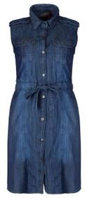 Clove Blue Denim Plus Size Shirt Collar Sleeveless Shift Dress