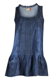 Blue denim  plus size short sleeveless feminine tunic dress