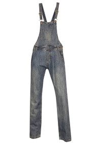 Celebrities long denim dungarees