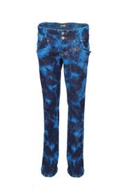 Clove Womens Jeans Boot Cut Low Rise Turquoise Black Blue Tie Dye