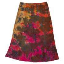 Clove Women A-line Tie Dye  Frayed Denim Skirt Plus Size