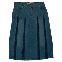 Clove A Line pleated Blue Denim Jeans Womens Midi Skirt Plus Size 14 16 18 20 22 24