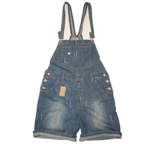 NEW Unique London Designer Denim Short Dungarees 8~22 - Blue