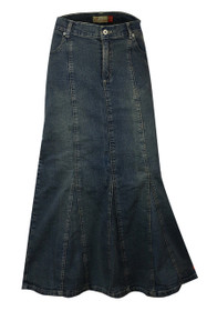 Long Length Pleated Denim Skirt from Clove UK