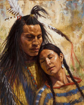 Loving Spirits, Crow, Romantic Native American Painting, James Ayers