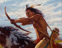 Taking-Aim-Crow-Warrior-Painting-James-Ayers