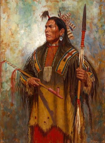 Hidatsa-Honor-Hidatasa-Warrior-Painting-James-Ayers