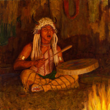Sacred-Drummer-Blackfoot-Shaman-Painting-James-Ayers