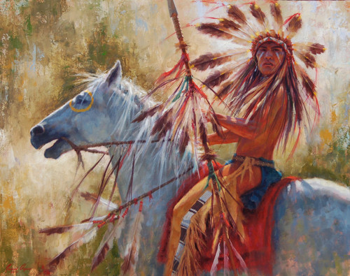 On The Warpath, Lakota Warrior Horseback Giclee, James Ayers