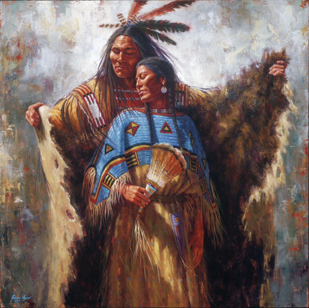 Two Souls One Spirit Lakota Romantic Painting James Ayers
