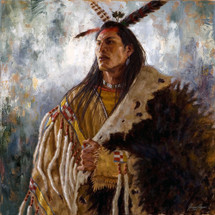 Eminence of the War Leader, Arikara warrior chief painting, by James Ayers