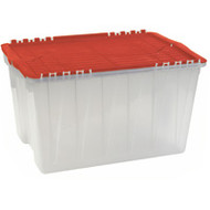 "CF555 Plastic Containers (RED flip top) 21.5""Lx15""Wx12.5""H"