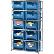 "CF057 Shelving (w/10 BLUE plastic bins) 42""Wx18""Dx76""H"