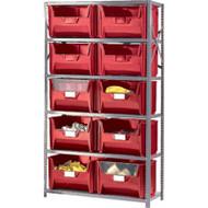 "CF066 Shelving (w/10 RED plastic bins)  42""Wx18""Dx76""H"