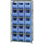 "CF260 Shelving (w/15 BLUE plastic bins) 36""Wx18""Dx76""H"