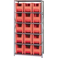 "CD590 Shelving (w/15 RED plastic bins) 36""Wx18""Dx76""H"