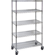 "MJ536 Chromate Shelf Carts  36""Wx24""Dx86""H"