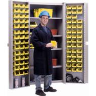 """CB448 Storage Cabinets YLW bins38""""Wx24""""Dx72""""H"""