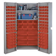 "CF356 Storage Cabinets Red bins38""Wx24""Dx72""H"