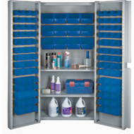 "CF371 Storage Cabinets Blue bins38""Wx24""Dx72""H"