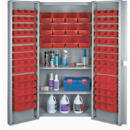 "CF372 Storage Cabinets Red bins38""Wx24""Dx72""H"