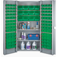 "CF374 Storage Cabinets Green bins38""Wx24""Dx72""H"