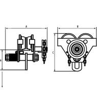 LS557 Geared Adj Trolleys 2000-lb cap