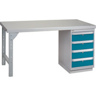 "FG273 Workbenches (steel-wood fill tops) 24""Wx60""Lx34""H"
