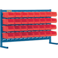 "CB152 LOUVERED Bench Racks/RED bins 4 1/8""W x 7 3/8""D x 3""H"