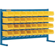 "CB153 LOUVERED Bench Racks/YELLOW bins 4 1/8""W x 7 3/8""D x 3""H"