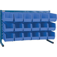 "CB154 LOUVERED Bench Racks/BLUE bins 5 1/2""W x 10 7/8""D x 5""H"