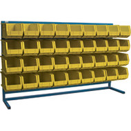 "CB186 LOUVERED Bench Racks/YELLOW bins 8 1/4""W x 14 3/8""D x 7""H"