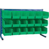 "CF363 LOUVERED Bench Racks/GREEN bins 5 1/2""W x 10 7/8""D x 5""H"
