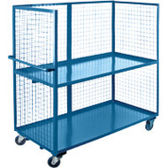 Utility Carts Wire Mesh Utility (Rubber Casters) 3 Sides/2 Shelves Starting at