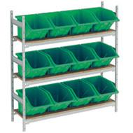 "RL986 Shelving (w/12 GREEN plastic bins)  66""Wx18""Dx60""H"