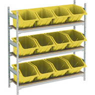 "RL987 Shelving (w/12 YELLOW plastic bins)  66""Wx18""Dx60""H"