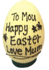 Personalised hollow white chocolate egg 215mm high $45.00