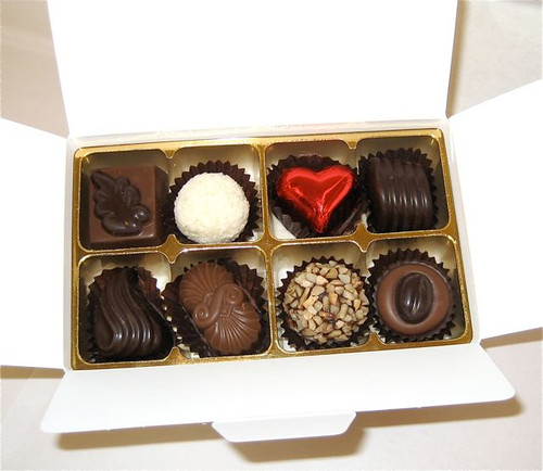 White gift box - 8 chocolates-1 Red foiled heart $17.50
